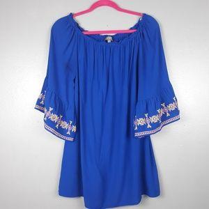 Umgee royal blue on or off shoulder tunic Medium